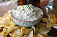 Cheesy Roasted Garlic Chip Dip via Simply Scratch