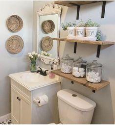 Guest Bathroom Makeover Ideas On A Budget - Bathroom Decorating - Bathroom Decor Half Bathroom Decor, Bathroom Wall Cabinets, Bathroom Interior, Remodel Bathroom, Bathroom Modern, Master Bathroom, Bathroom Vanities, Bathroom Remodeling, White Bathroom
