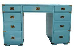 Midcentury Campaign-Style Desk on OneKingsLane.com - sod Von Meyer Ltd in atlanta, ga