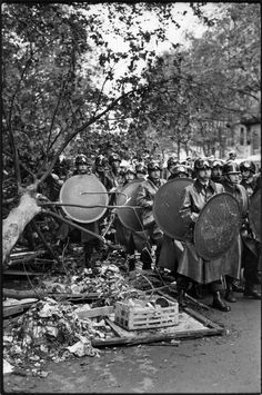 Henri Cartier-Bresson, Boulevard Saint-Michel, Paris, mai 1968. © Henri Cartier-Bresson/Magnum Photos.……réepinglé par Maurie Daboux۰⋱‿✿╮