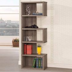 Contemporary Weathered Unique Bookcase Bookshelf Display Rack Semi-backless Grey #Modern