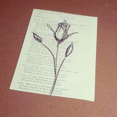 Original Rose Sketch, Rose Charcoal Sketch, Book Page Drawing, Rose Drawing, Rose Line Drawing, Rose Charcoal Sketch, Minimal Line Drawing