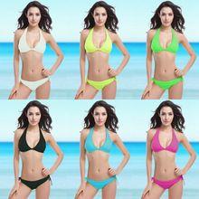 8618058d4 2017 mulheres swimwear sexy bandage push up bikinis biquini verão praia  maiô acolchoado maiô bikini set