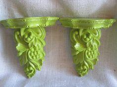 Upcycled Small Ornate Lime Green Shelf Set by MaddyandEmmi on Etsy, $16.99