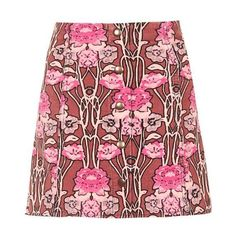 Topshop Rose Print Cord a-Line Skirt ($43) ❤ liked on Polyvore featuring skirts, red cotton skirt, a-line skirt, flower print skirt, red a line skirt and floral skirt