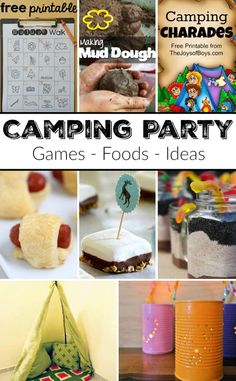 How to Throw a Camping Themed Party! - The Typical Mom * Instant Pot Recipes * Ninja Foodi Recipes - How to Throw a Camping Themed Party! The BEST camping party foods, games and ideas. This is such a fun idea for a Birthday Party for your kids! Camping Party Activities, Camping Party Foods, Girl Camping Parties, Kids Party Games, Birthday Party Games, Camping Games, Camping Ideas, Birthday Ideas, Camping Themed Party