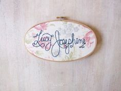 Spring Floral Name Sign Embroidery Hoop by King Soleil