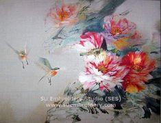 Silk embroidery painting, all hand embroidered with fine silk threads on silk from Su Embroidery Studio, Suzhou China.