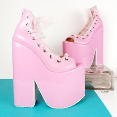 Cute Heels, Sexy Heels, High Heels, Comfy Heels, Vegan Leather, Soft Leather, Lace Up Wedges, Everything Pink, Platform Wedge Sandals