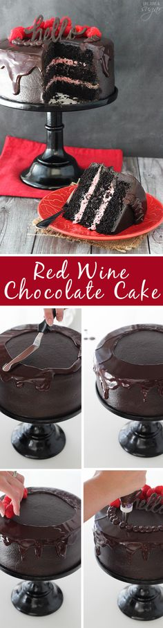 Red Wine Chocolate Cake - with red wine in the cake and chocolate ganache! The raspberry filling is the perfect compliment! Such a moist cake! Wine and chocolate. Red Wine Chocolate Cake, Chocolate Frosting, Raspberry Chocolate, Chocolate Muffins, Chocolate Recipes, Just Desserts, Delicious Desserts, Dessert Recipes, Baking Recipes