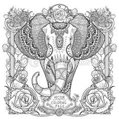 Página para colorear de elefante espléndida — Vector de stock