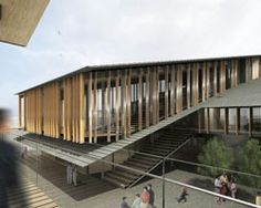 kengo kuma plans louvered tomioka city hall in central japan : the program is centered around an expansive courtyard, with a collection of individual units situated under slated shed roofs. City Hall Architecture, Atelier Architecture, Vernacular Architecture, Japanese Architecture, Sustainable Architecture, Architecture Design, Architecture Colleges, Ancient Architecture, Landscape Architecture