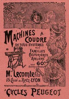 #Publicité pour une machine à #coudre de marque #Peugeot. Inventés au XIXe siècle, la machine à coudre et le cycle ont été produits par les mêmes industriels. L'impact de ces 2 inventions sur la société aura été considérable #numelyo #CulturePub #couture