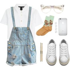 29032015_03 by vicki-shiu on Polyvore featuring MARC BY MARC JACOBS, HOT SOX, Acne Studios, Maison Margiela, Wildfox, sneakers, whitetshirt and denimoveralls