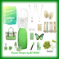 """Lucky Green! Premier Designs Jewelry Featuring: """"Lively"""" necklace, """"Fine Art"""" necklace (reversible), """"Sabrina"""" earrings, """"Bands of Gold"""" bracelet set, """"Pistachio"""" bracelet, """"Merigold"""" bracelet and """"Pile It On"""" ring set."""