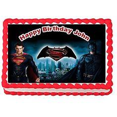 Batman vs Superman Edible Image Cake Topper Frosting Sheet-7.5x10(1/4 sheet) -- Additional details @ : Baking tools