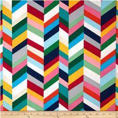 Kaufman Geo Pop Home Decor Canvas Stripe Sorbet