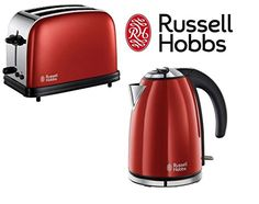 Russell Hobbs Colours Twin Pack of Kettle & 2 Slice Toaster Red...