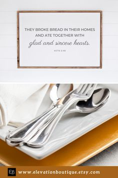 """This modern farmhouse style wall decor would be perfect in a dining room or kitchen! Especially, around the holidays and Thanksgiving! It says """"They broke bread in their homes and ate together with glad and sincere hearts"""" Acts 2:46. This scripture poster comes unframed, so you can pick a modern farmhouse style frame that matches your dining room or kitchen decor (frame not included)! Don't wait! Order yours now! #diningroomwalldecorfarmhousemodern #theybrokebreadintheirhomessign Farmhouse Dining Room Lighting, Dining Room Wall Decor, Kitchen Decor, Modern Farmhouse Style, Farmhouse Style Decorating, Rustic Farmhouse, Bible Quotes For Women, Bless The Food, Christian Decor"""