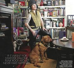 Adam Ant in his library