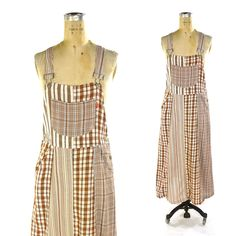90s Esprit Maxi Dress / Vintage 1990s Grunge Sundress / Plaid Overalls Style Patchwork Women's Long Dress / Medium by SpunkVintage