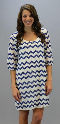 Summer Chevron Lace Dress - Blue #chevron #lace #shopacutabove #shift #dress