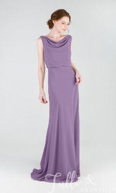 370e70b7461 Pretty Long Chiffon Bridesmaid Dress with Cowl Neck TBQP457
