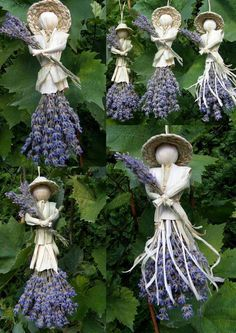 Lavender and corn husk figures Lavender Crafts, Lavender Garden, Lavender Wands, Lavender Decor, Lavender Uses, Lavender Wreath, Deco Floral, Arte Floral, Garden Crafts