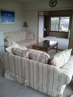 お客様から頂いた実際にお使いのカントリーソファー  It is an image of the country sofa that the customer is actually using.   アメリカンカントリーカバーリングソファー