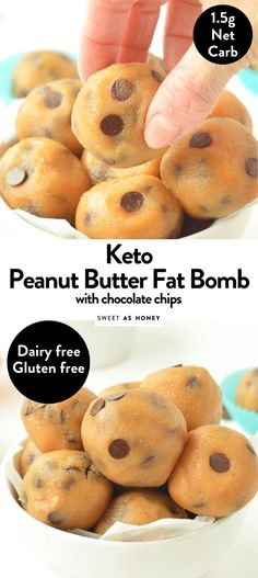Peanut butter chocolate chip fat bombs net carbs Sweetashoney - Keto for beginners Low Carb Desserts, Low Carb Recipes, Diet Recipes, Dessert Recipes, Healthy Recipes, Breakfast Recipes, Candy Recipes, Diet Breakfast, Health Desserts