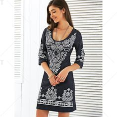 Scoop Neck Mini Printed Dress In Black | Twinkledeals.com