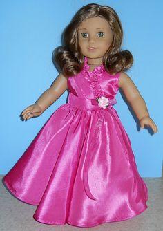 American Girl Doll Clothes - Fuchsia Taffeta Party Dress - 18 Inch Doll Clothes