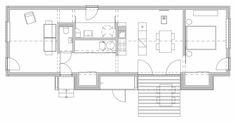 Wooden Brick House - Jaro Krobot - Slovakia - Floor Plan - Humble Homes Small Tiny House, Small House Plans, House Floor Plans, Brick Building, Building Design, Green Building, Wooden Barn, House Roof, House Layouts