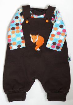angorafrosch: baby onesie with overall - pattern: strampelhose klimperklein / regenbogenbody schnabelina