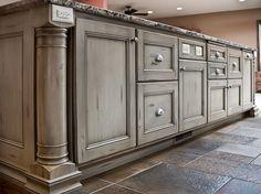 Kitchen Island, Kitchen Cabinetry, Kitchen Cabinets, Vintage Cabinetry, Vintage Cabinets, Traditional, Custom, Seating Area, Large Island, Knotty Alder, furniture feet, colums