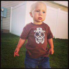Sugar Skull Baby T Shirt BROWN by HappyGoatDesigns on Etsy