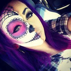 Sugar skull makeup I like the half and half