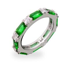 Emerald and CZ Stackable Eternity Band Eve's Addiction. $32.00. Approximate Weight: 3.1 grams. Metal Finish: rhodium-finished-sterling-silver. TCW: .10 carats each white cz, .25 carats each emerald cz