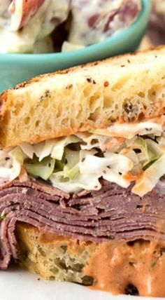 Brooklyn Avenue Sandwich with Pastrami, Cole Slaw, Russian Dressing & Rye Sandwich Toaster, Pastrami Sandwich, Grilled Sandwich, Soup And Sandwich, Hot Sandwich Recipes, Coleslaw Sandwich, Salami Sandwich, Sandwich Board, Sandwich Ideas