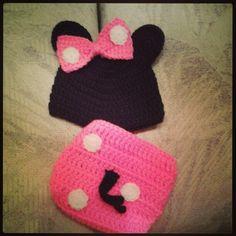 Pink Minnie Crochet Diaper Cover