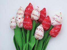 Tkanina tulipany Walentynki prezent sprężynę HappyDollsByLesya