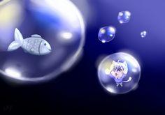 Kawaii | Neko | Fish | Bubbles