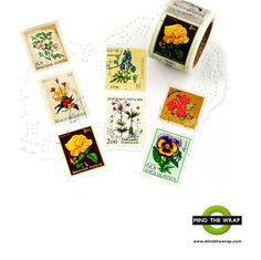 Floral Vintage Stamps  Washi Tape  Extra-Wide 38mm  by MindtheWrap