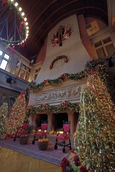 The seven-story fireplace located in the Banquet Room of the Biltmore House, Asheville, North Carolina, during the Christmas season.