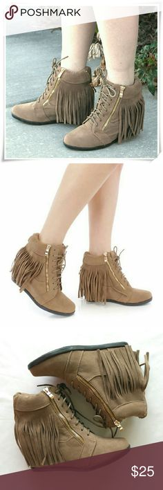 """Fringe Sneaker Wedge Cute and comfy shoes feature faux suede, with a front lace up tie design, decorative zippers, fringe trim, smooth lining. The top of the shoes isn't firm, seems not sturdy, but when on the shoes look great.  Details: heel 2-1/2"""", fits TTS. Very comfy. Forever Shoes Sneakers"""