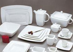 white dinnerware in contemporary style, square dinnerware