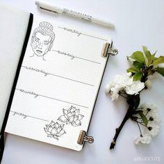 Bullet journal weekly layout, cursive daily headers, plant drawings. | @bujocute