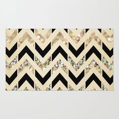 gold black throw area rug great room space society6
