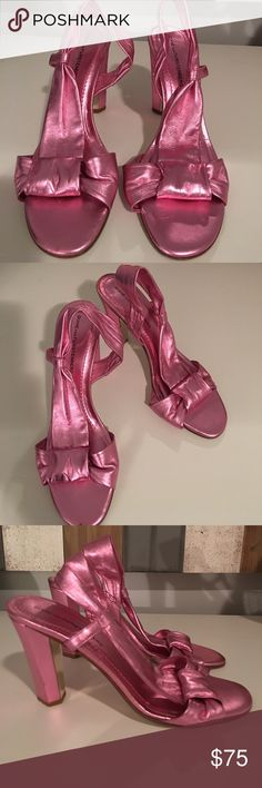 Diane von Furstenberg Sexy Pink Disco Sandal  39 9 Luminescent foil pink fabulous high open toe sandal DVF 100% Authentic High Fashion, Stunning Sandal for sizzling summer nights!  Euro 39 US 9. Very good condition with a few minor scratches on back heel, hardly noticeable.  Taking offers! Diane von Furstenberg Shoes
