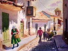 calle del pueblo de uros Landscape Art, Landscape Paintings, City Art, Light And Shadow, Old Houses, Illustration Art, Mexico, Texture, Llamas